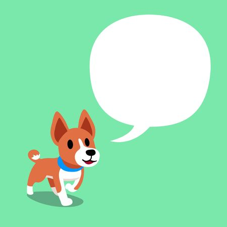 Cartoon character a basenji dog and a white speech bubble for design.