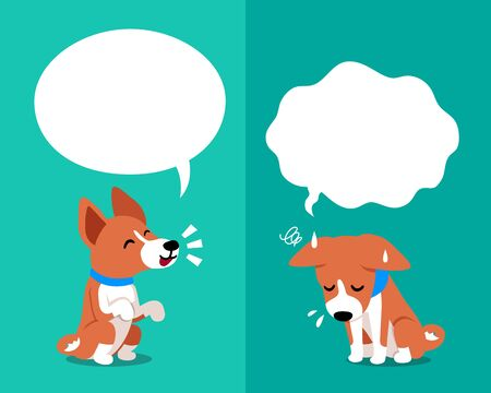 Cartoon character basenji dog expressing different emotions with speech bubbles for design.