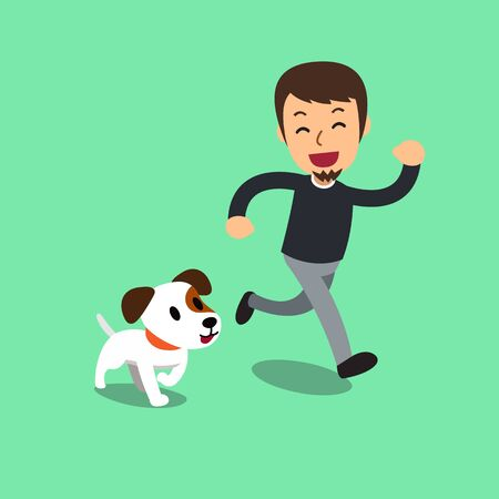 Cartoon jack russell terrier dog and a man for design. Illustration