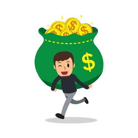 Cartoon a man carrying big money bag for design.