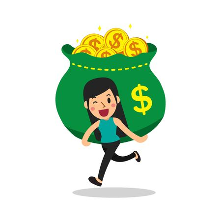 Cartoon a woman carrying big money bag for design.  イラスト・ベクター素材