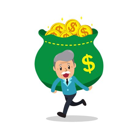 Cartoon senior man carrying big money bag for design.