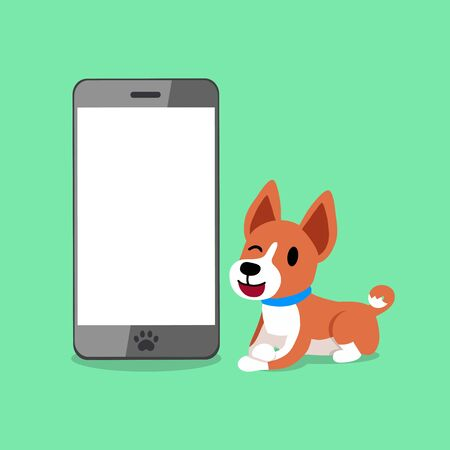 Cartoon character a basenji dog and smartphone for design.