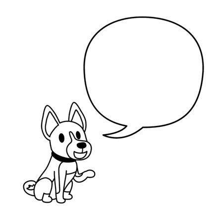 Cartoon character a basenji dog and speech bubble for design.