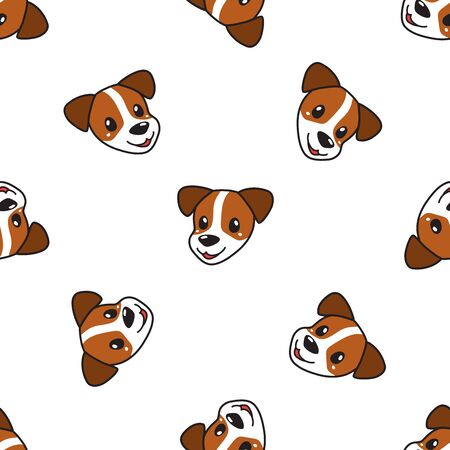 Vector cartoon character cute dog seamless pattern background for design.  イラスト・ベクター素材
