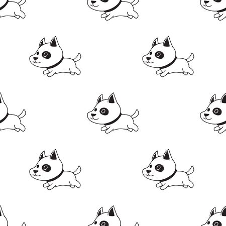 Vector cartoon character cute dog seamless pattern for design.