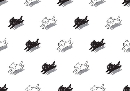 Vector cartoon character cute white and black cats seamless pattern background for design.