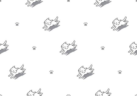 Vector cartoon character cute white cats seamless pattern background for design.