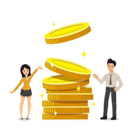 Empresario de dibujos animados de vector de concepto de negocio y empresaria con pila de monedas grandes para el diseño.
