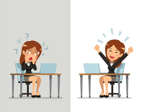 Cartoon businesswoman expressing different emotions for design.