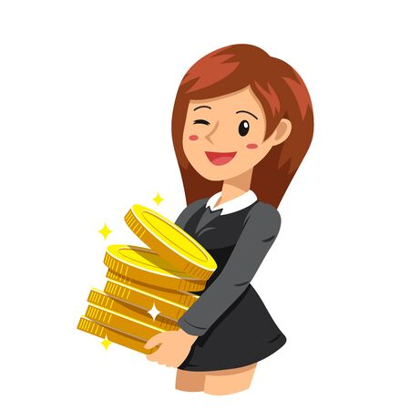 Vector cartoon business concept happy businesswoman with money coins for design. Ilustrace