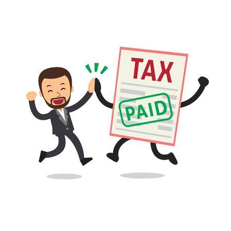 Vector cartoon happy businessman paid tax for design.