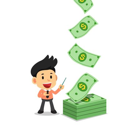 Vector illustration of happy businessman with money banknotes cash falling for design.