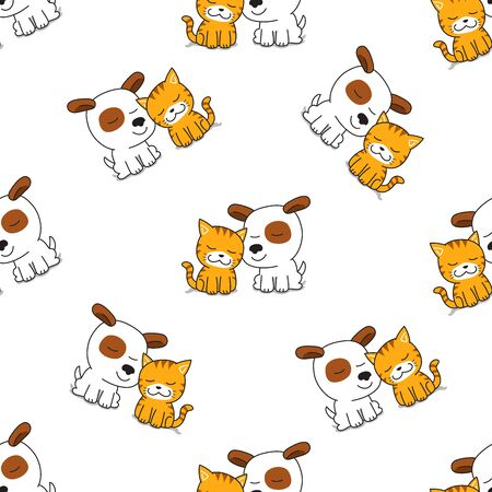 Vector cartoon character cute cat and dog seamless pattern for design.