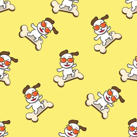 Vector cartoon character cute dog in fashion style sunglasses on big bone sign seamless pattern for design.