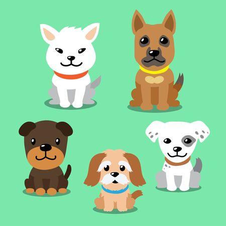 Conjunto de dibujos animados de vector de perros
