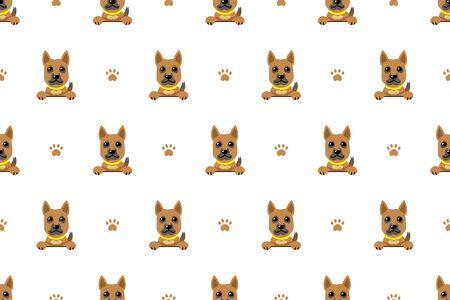 Vector cartoon brown dog seamless pattern for design.  イラスト・ベクター素材