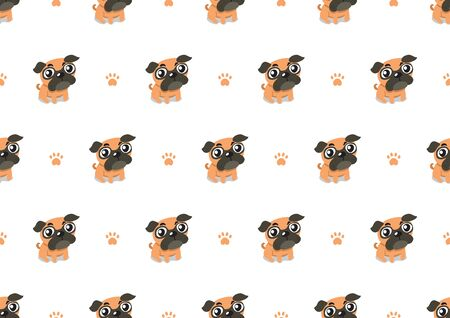 Vector cartoon character pug dog seamless pattern background for design.  イラスト・ベクター素材
