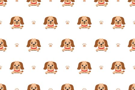 Vector cartoon cute brown dog seamless pattern background for design.