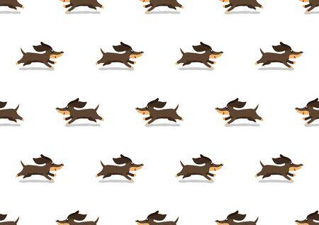 Vector cartoon cute dachshund dog seamless pattern background for design.