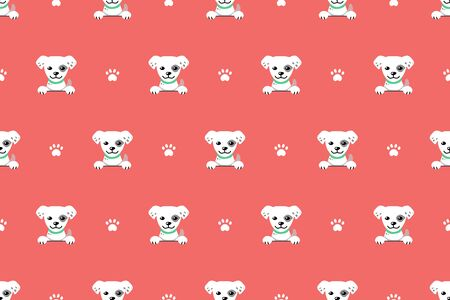 Vector cartoon white dog seamless pattern background for design.  イラスト・ベクター素材