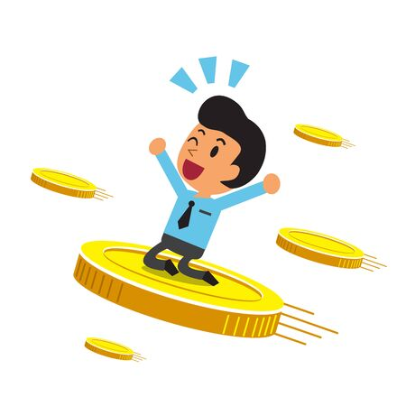 Business concept vector cartoon businessman with big coins for design.