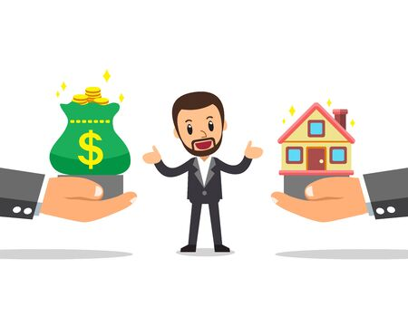 Cartoon business concept businessman with house and money for design.