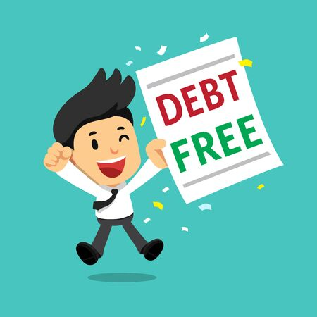Cartoon businessman with debt free letter for design. 일러스트