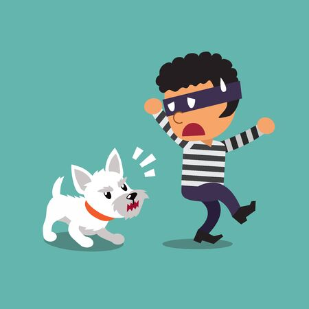 Cartoon a little dog and thief for design.