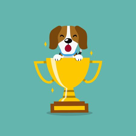 Vector cartoon character cute beagle dog with gold trophy cup award for design.