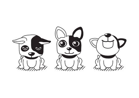 Vector cartoon character cute french bulldog poses for design.