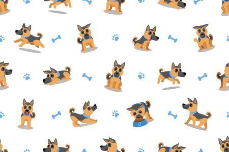Vector cartoon character german shepherd dog seamless pattern background for design.