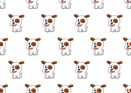 Vector cartoon character jack russell terrier dog seamless pattern background for design. Ilustracja