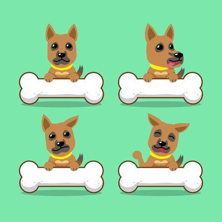 Cartoon character brown dog with big bones Ilustracja