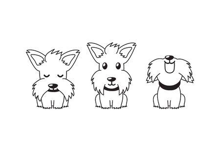 Cartoon character white scottish terrier dog poses for design. Ilustracja