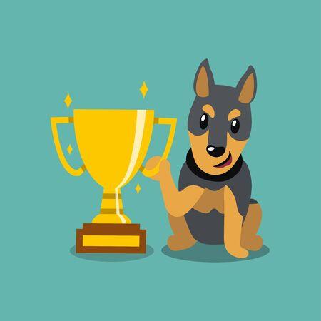 Vector cartoon character doberman dog holding gold trophy cup award for design.