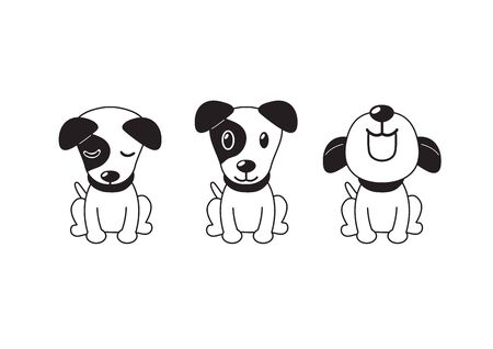 Vector cartoon character jack russell terrier dog poses for design.