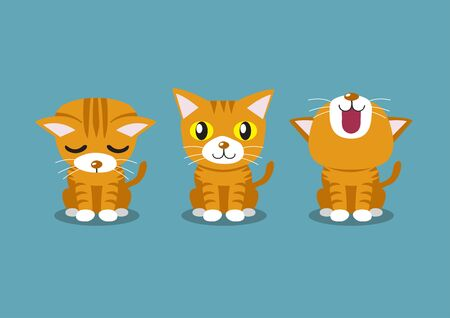 Vector cartoon character tabby cat poses for design. Ilustracja