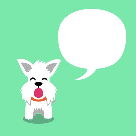 Cartoon character cute white scottish terrier dog with speech bubble for design.