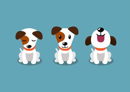 Cartoon character jack russell terrier dog poses for design.