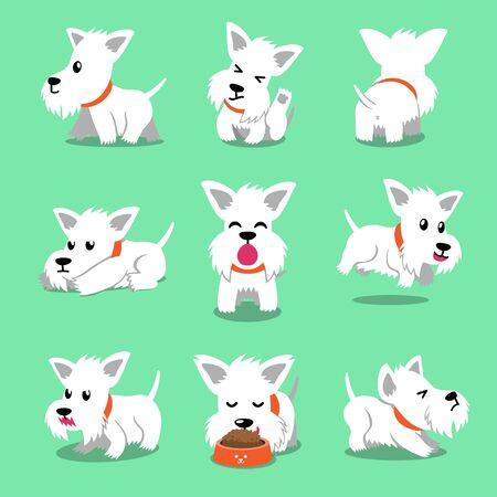 Personaje de dibujos animados perro terrier escocés blanco posa para el diseño.