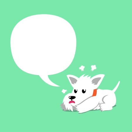 Vector cartoon character cute white scottish terrier dog with speech bubble for design.