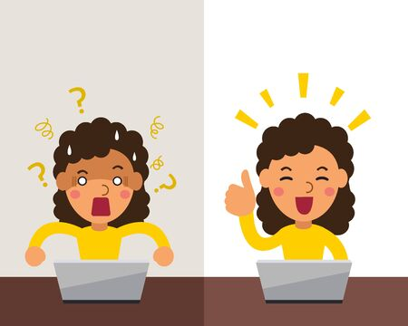 Vector cartoon woman expressing different emotions for design. Stock Vector - 133170502