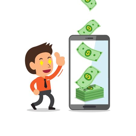 Business concept cartoon smartphone help businessman to earn money for design.