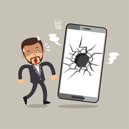 Vector cartoon businessman and broken screen smartphone for design.