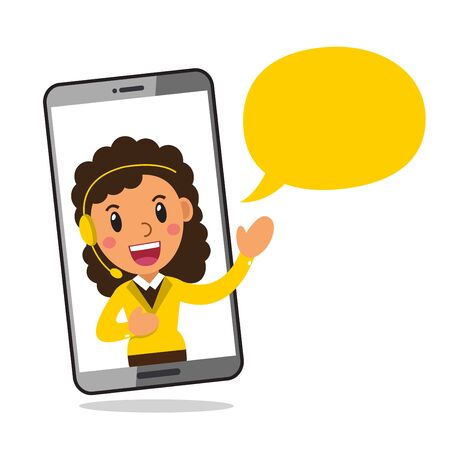 Vector cartoon character call center service woman wearing headset on smartphone screen for design.