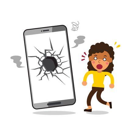 Vector cartoon woman and broken screen smartphone for design.