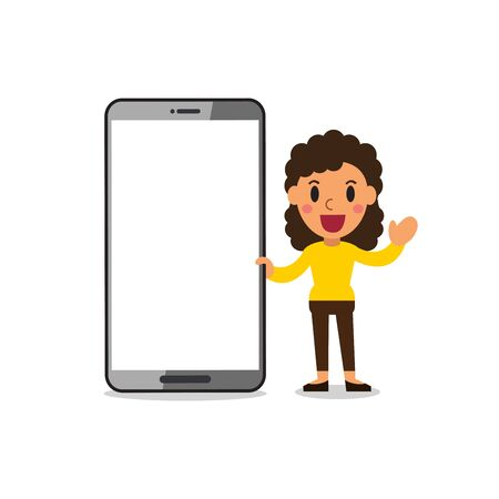 Vector cartoon woman with smartphone for design. Ilustracja