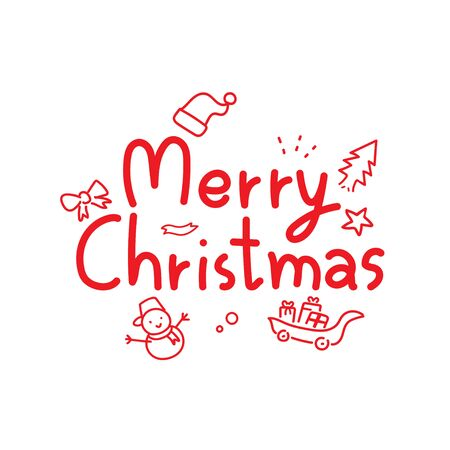 Merry Christmas vector text lettering design with cartoon cute snowman gift santa hat for holiday greeting poster for design.