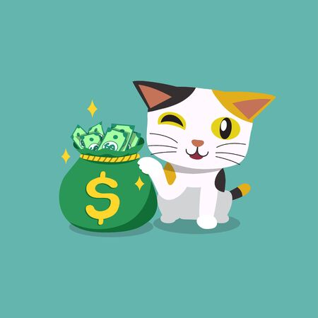 Vector cartoon character cute cat with money bag for design.